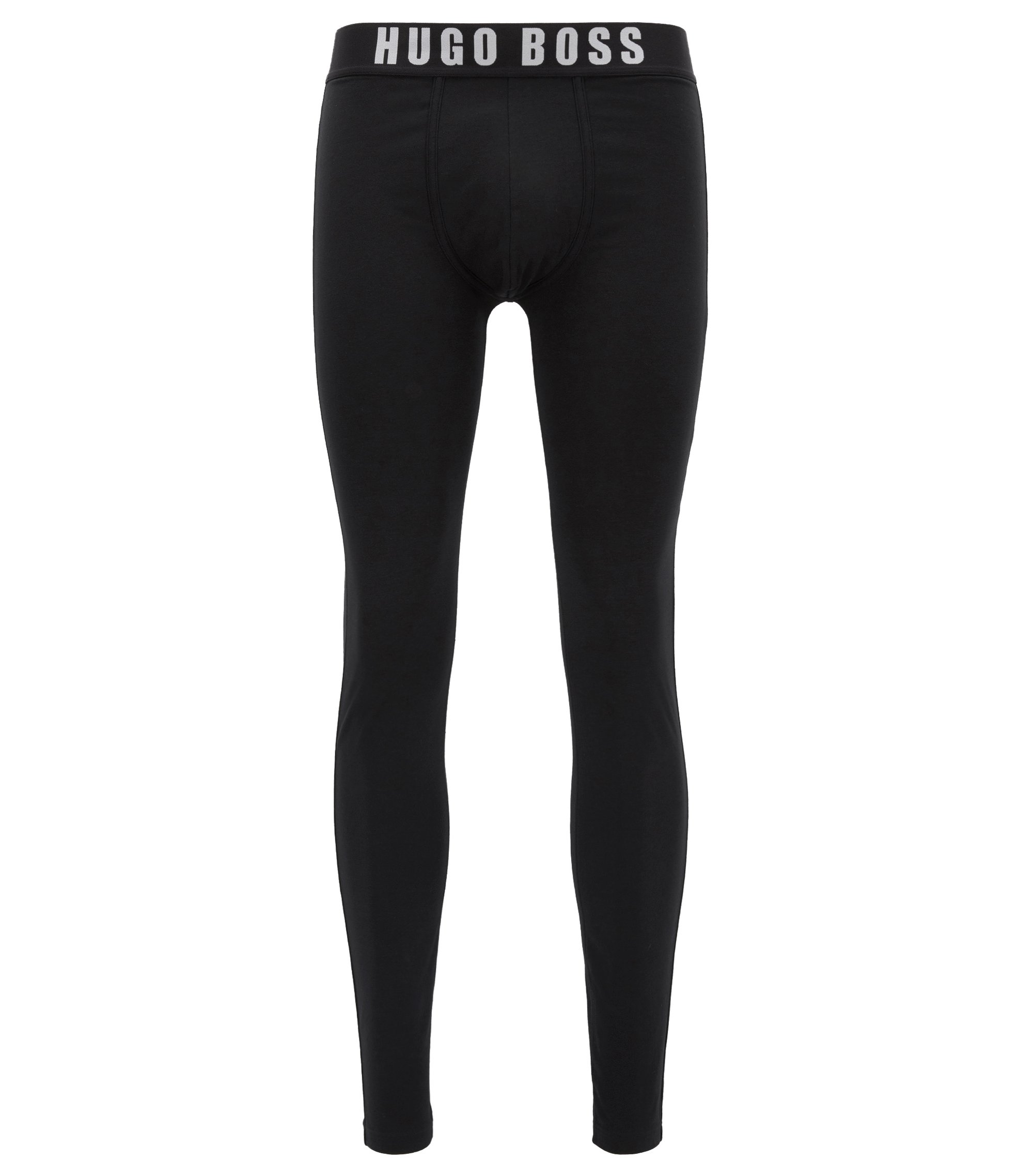 Caleçon long en jersey single stretch, Noir