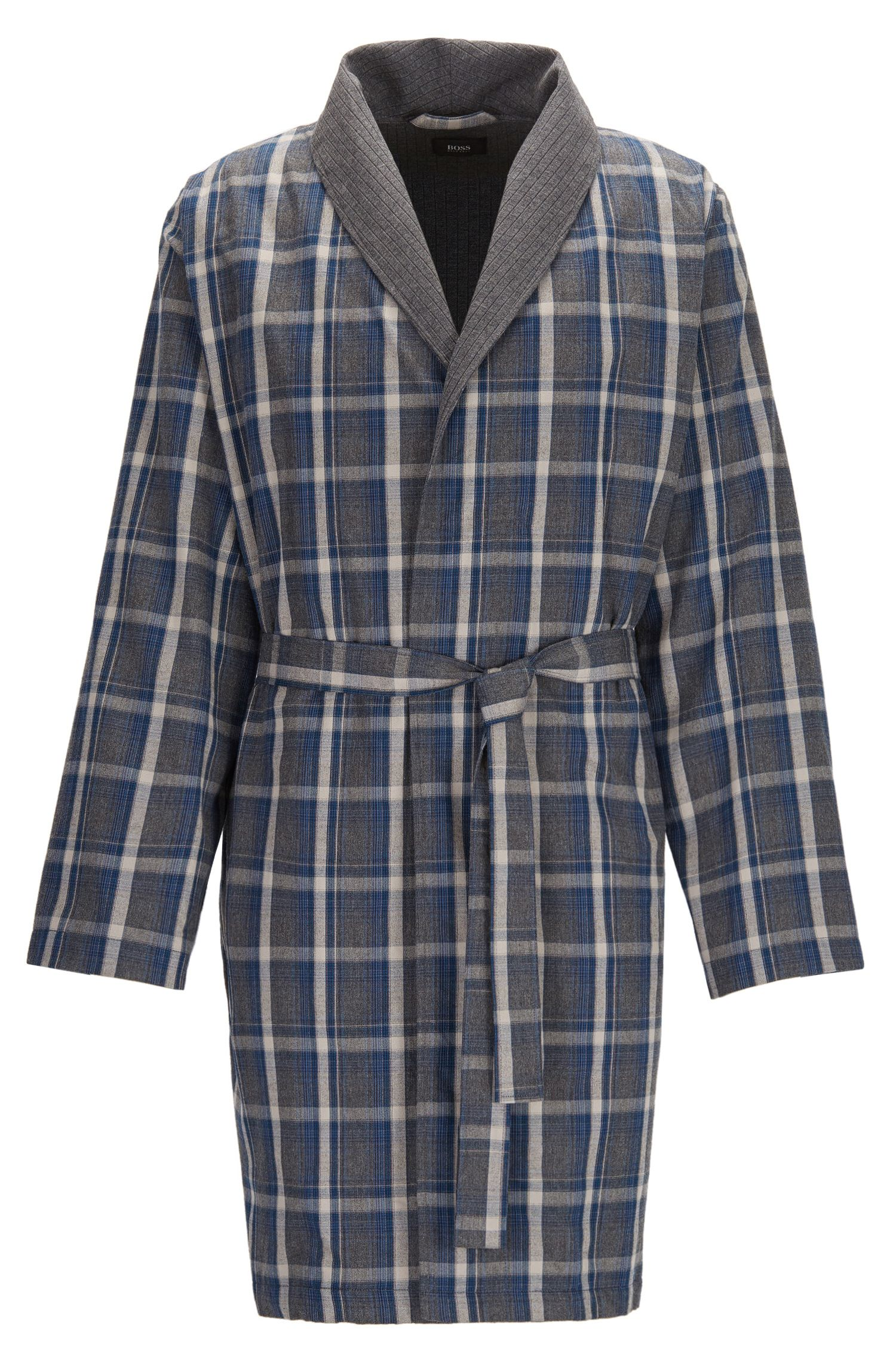Checked dressing gown in brushed cotton twill