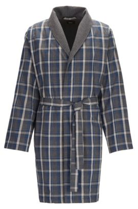 Checked dressing gown in brushed cotton twill, Anthracite