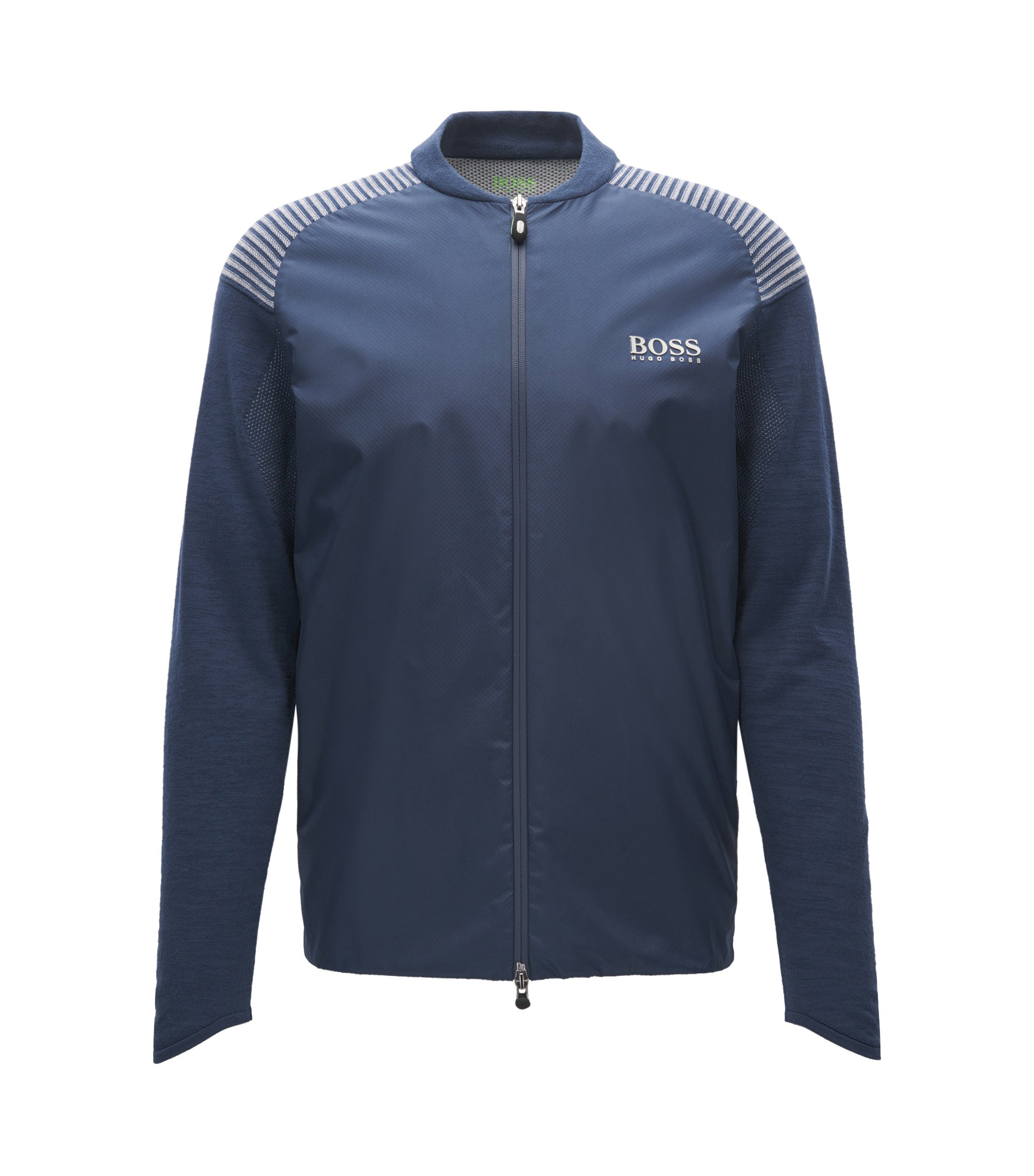 Cotton-blend zip-through jacket in a regular fit, Dark Blue