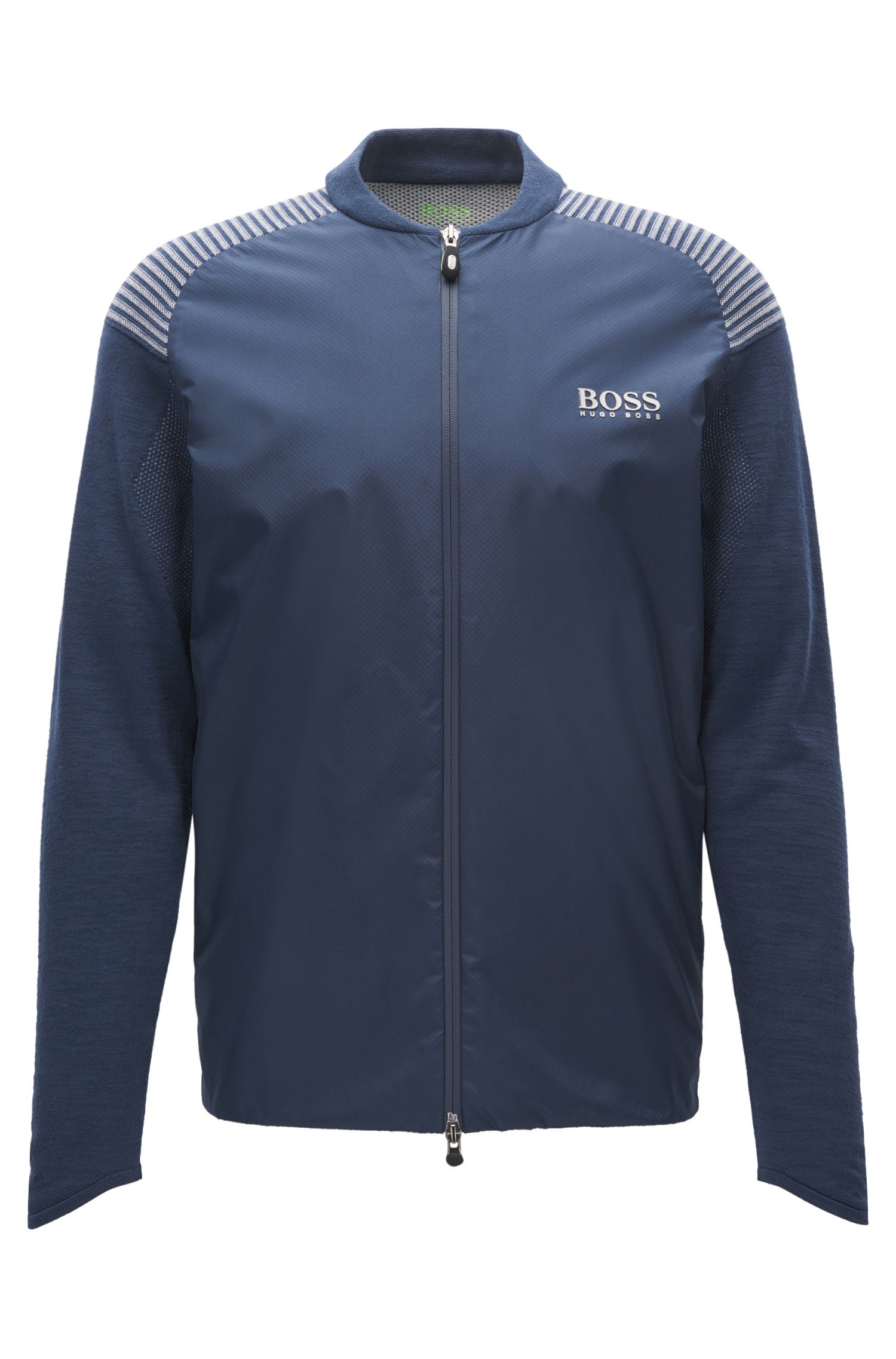 Cotton-blend zip-through jacket in a regular fit