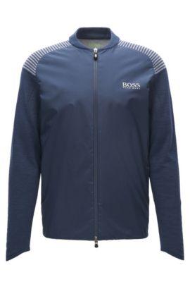Cotton-blend zip-through jacket in a regular fit, Dark Blue