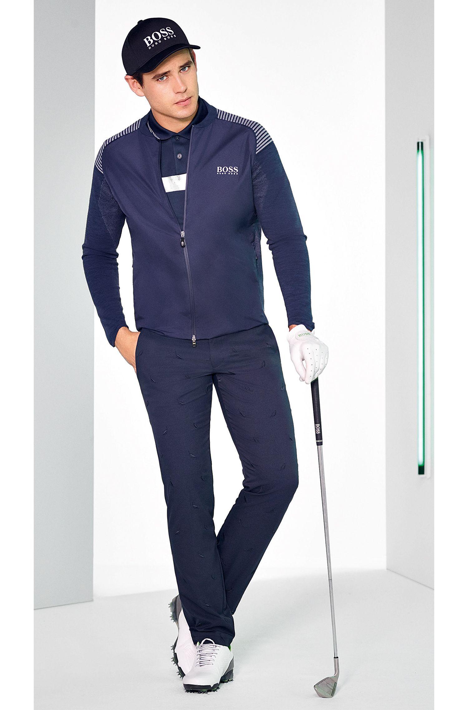Regular-fit jas van een katoenmix met ritssluiting