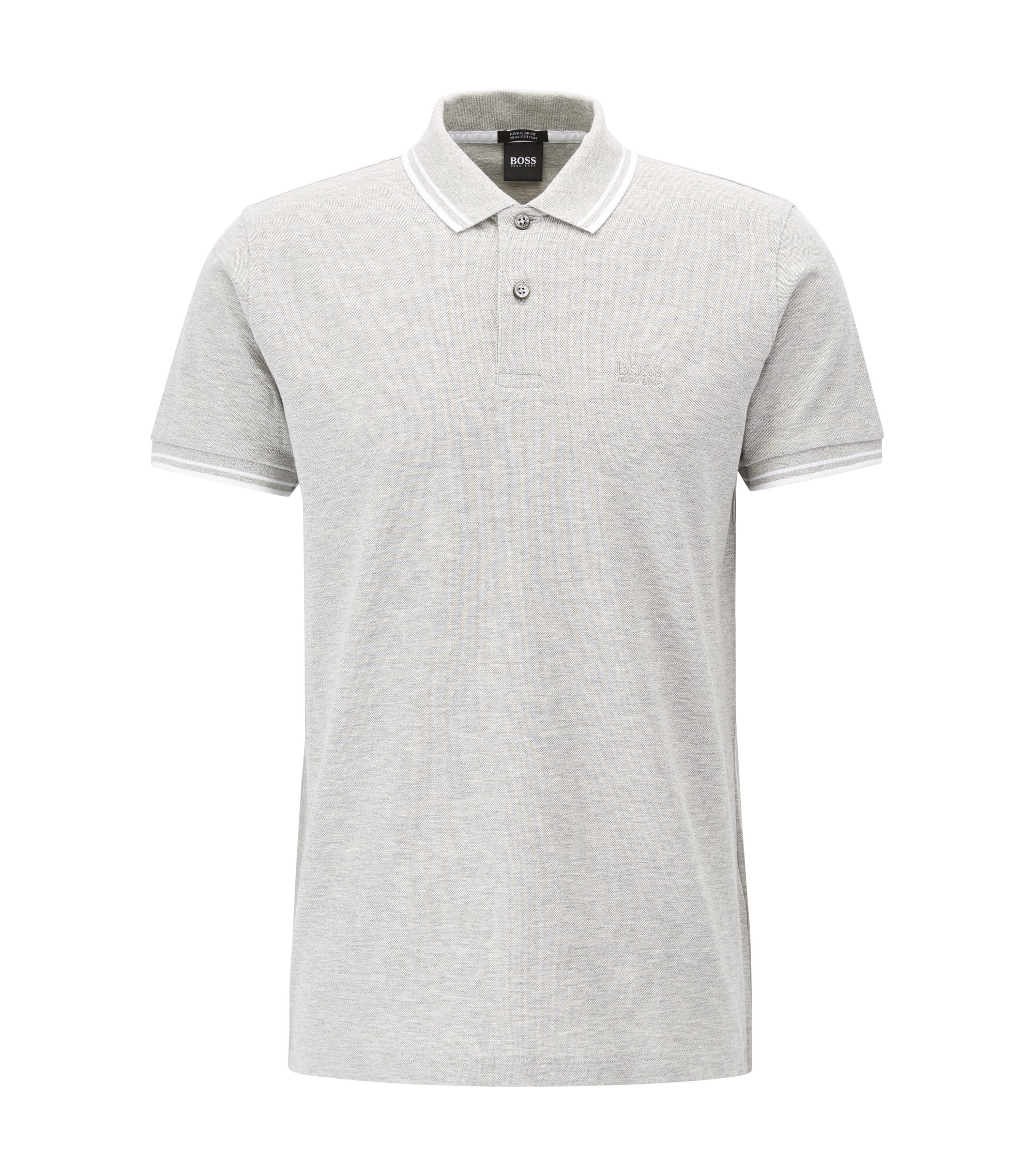 Polo Regular Fit en piqué de coton fin, Gris chiné