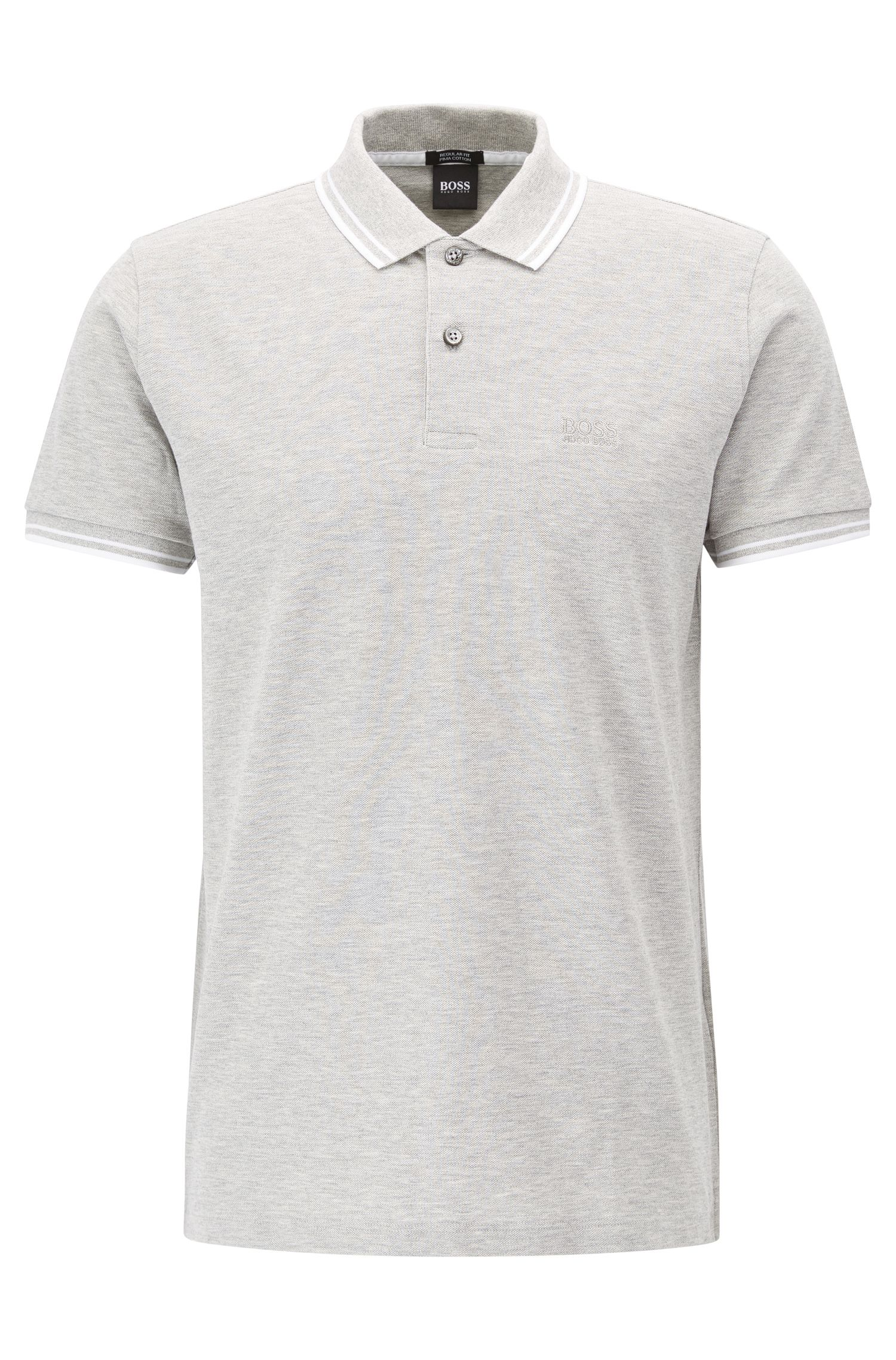 Regular-fit polo shirt in fine cotton piqué, Light Grey