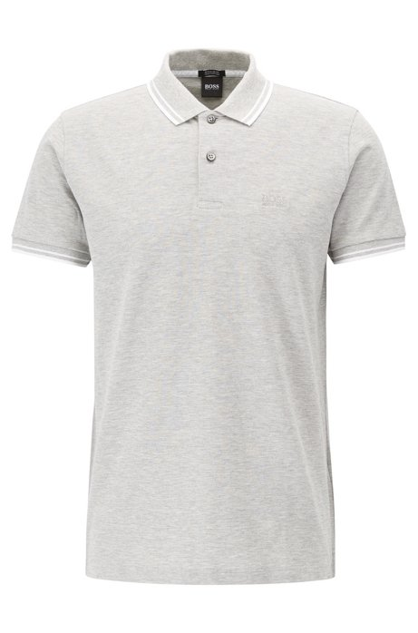 Regular-Fit Poloshirt aus feinem Baumwoll-Piqué, Hellgrau