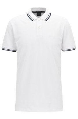 Cheap Reliable Visit Polo shirt in interlock cotton with contrast zip detail HUGO BOSS Cheap Discount Sale FVuFNVoX