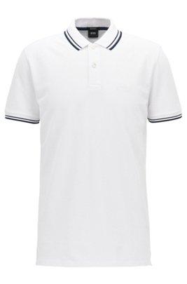 Polo Regular Fit en piqué de coton fin, Blanc