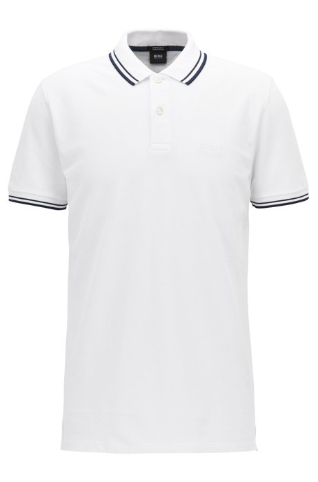 Regular-fit polo shirt in fine cotton piqué, White