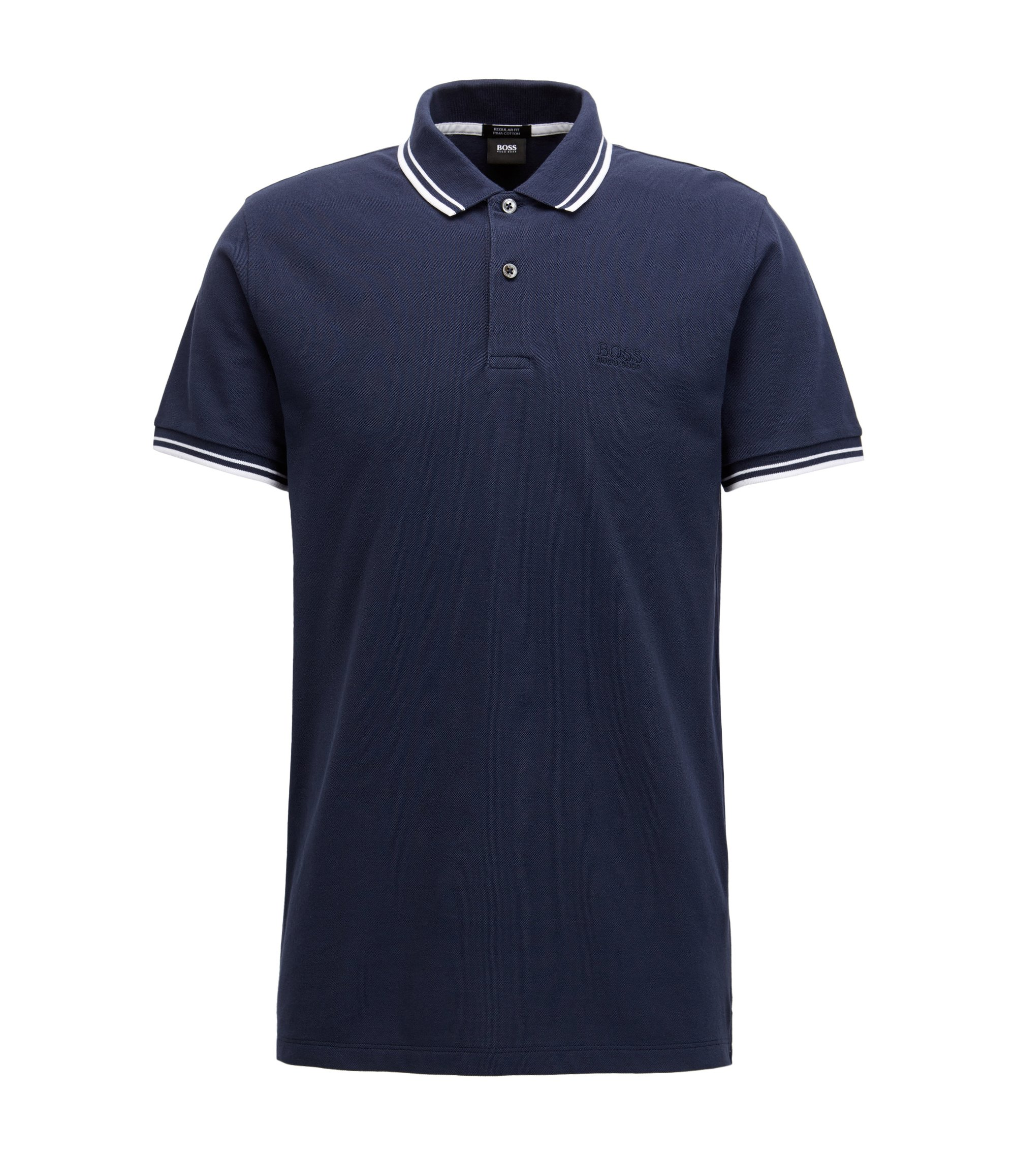 Polo regular fit in pregiato piqué di cotone, Blu scuro