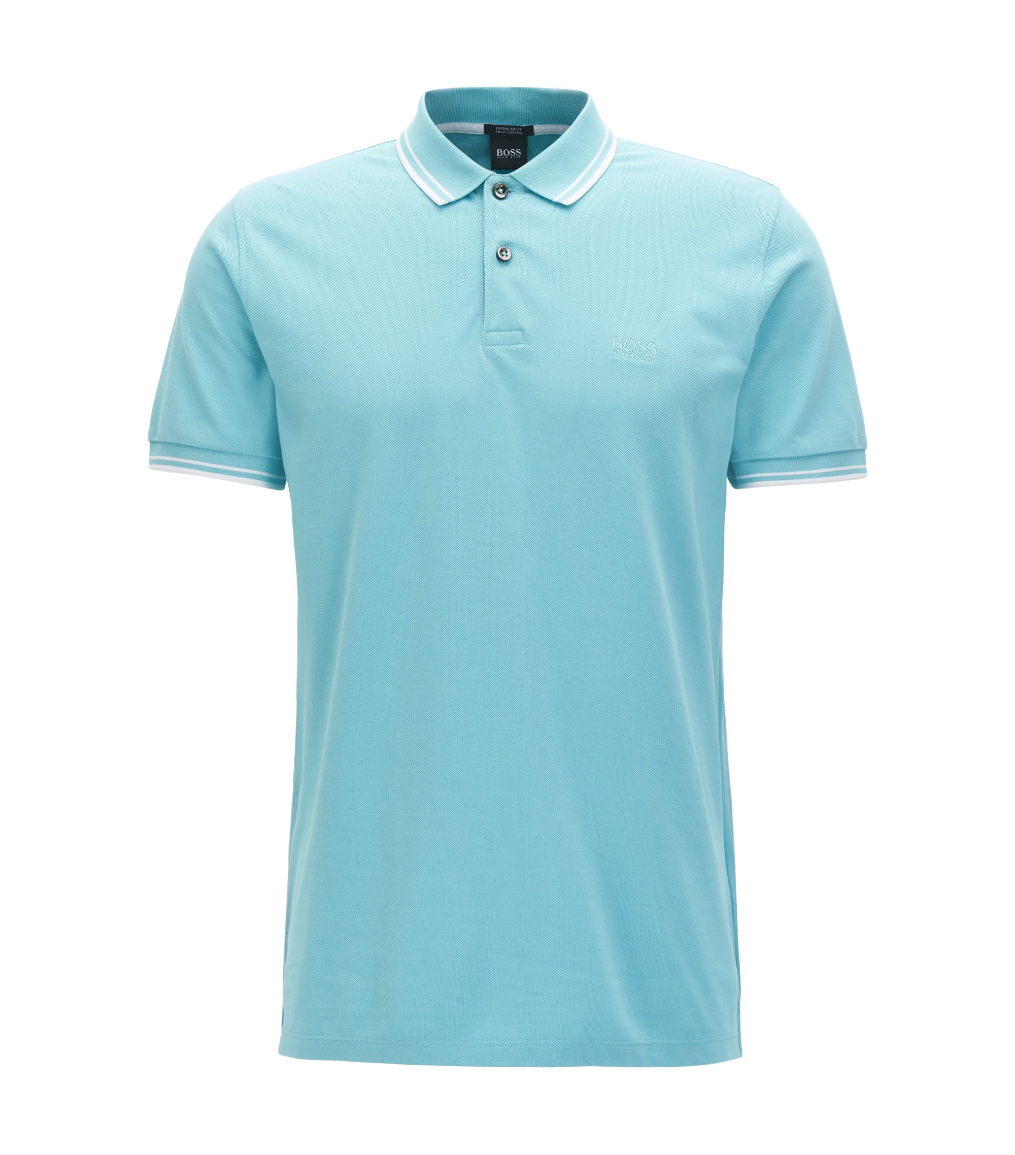 Regular-fit polo shirt in fine cotton piqué, Light Blue