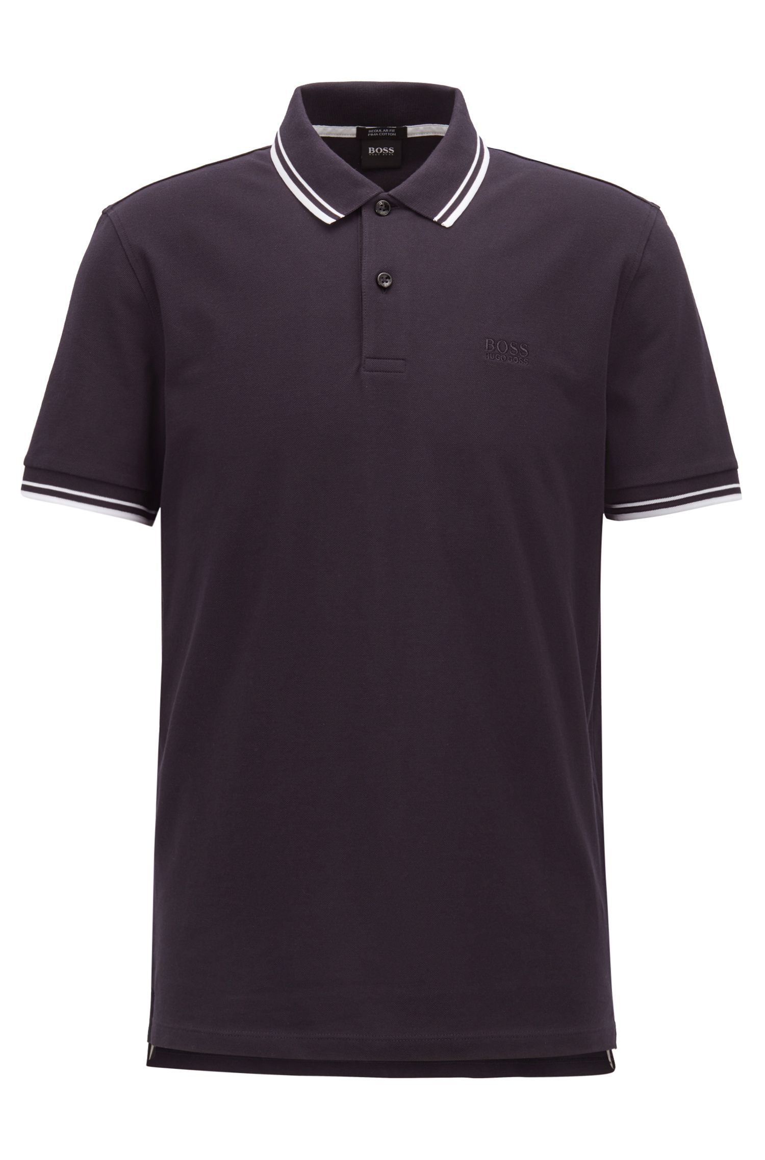 Regular-fit polo shirt in fine cotton piqué, Dark Blue