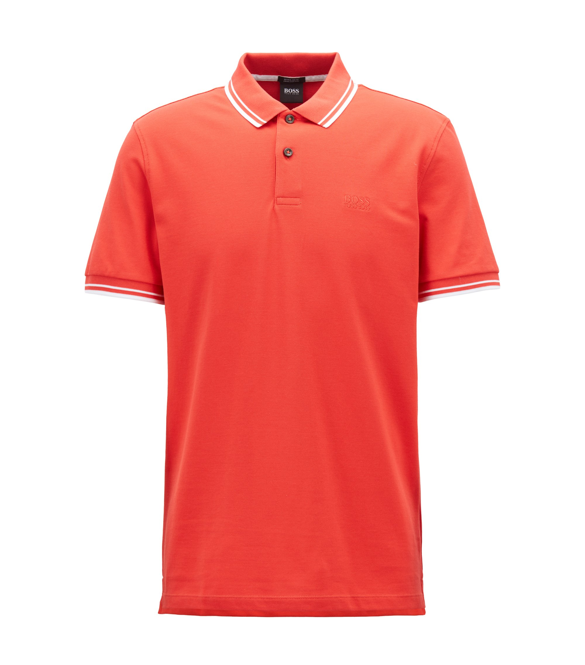 Regular-fit polo shirt in fine cotton piqué, Red