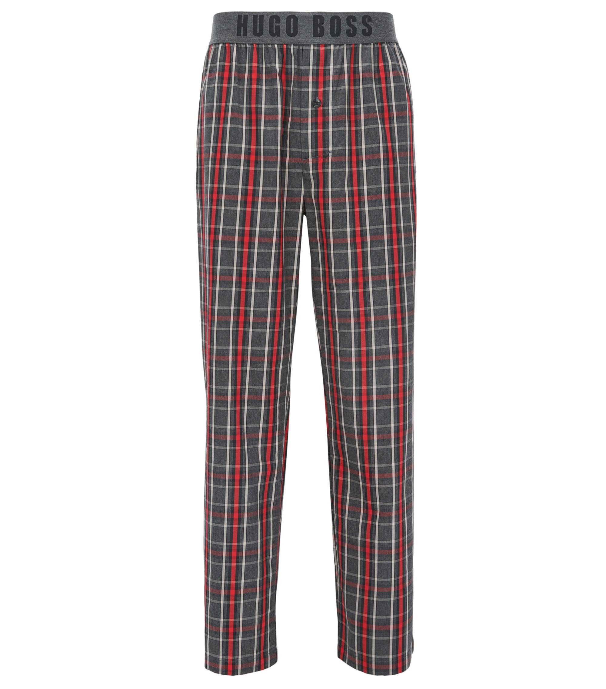 Pantaloni del pigiama a quadri in twill di cotone con fascia in vita a vista con logo, Rosso