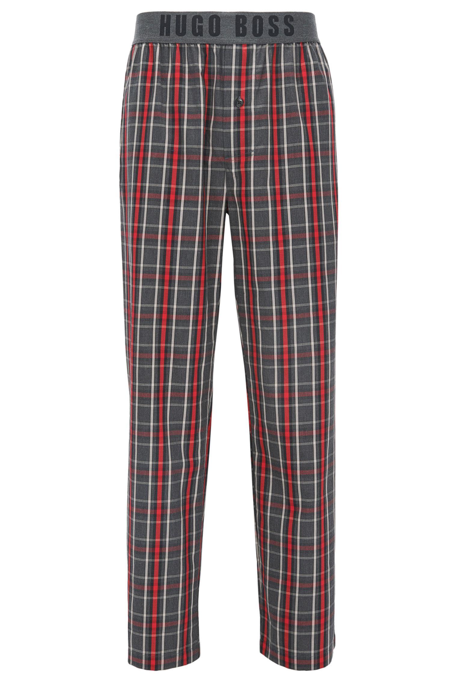 Pantaloni del pigiama a quadri in twill di cotone con fascia in vita a vista con logo