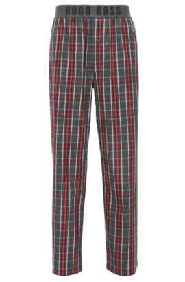 Checked pyjama bottoms in cotton twill with exposed logo waistband, Red