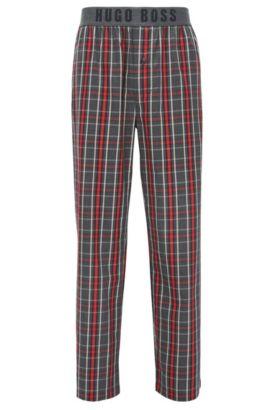 Pantalón de pijama a cuadros en sarga de algodón con cintura expuesta con logo, Rojo