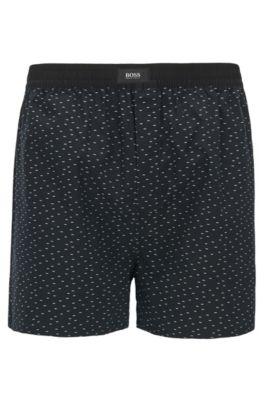 Cotton pyjama shorts with fil coupé pattern, Black