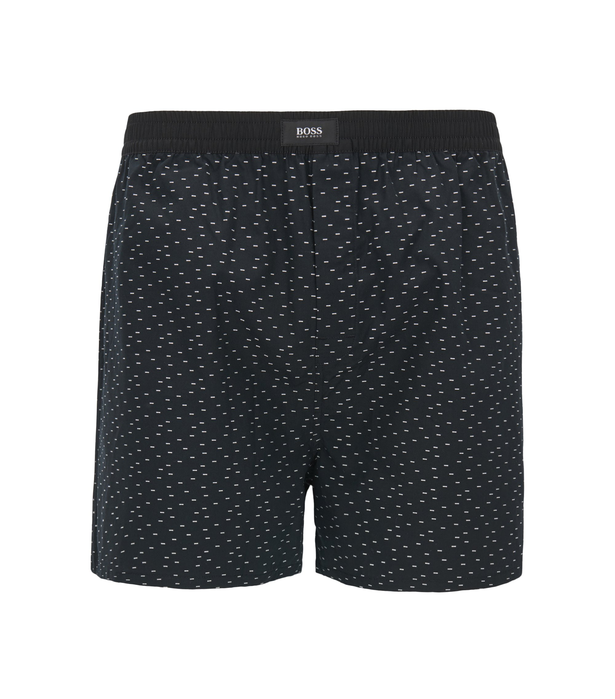 Cotton pyjama shorts with fil coupé pattern, Black