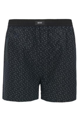 Pyjamashorts aus Baumwolle mit Fil-coupé-Struktur, Schwarz