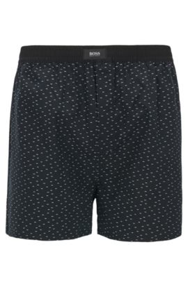 Shorts de pijama de algodón con diseño fil coupé, Negro