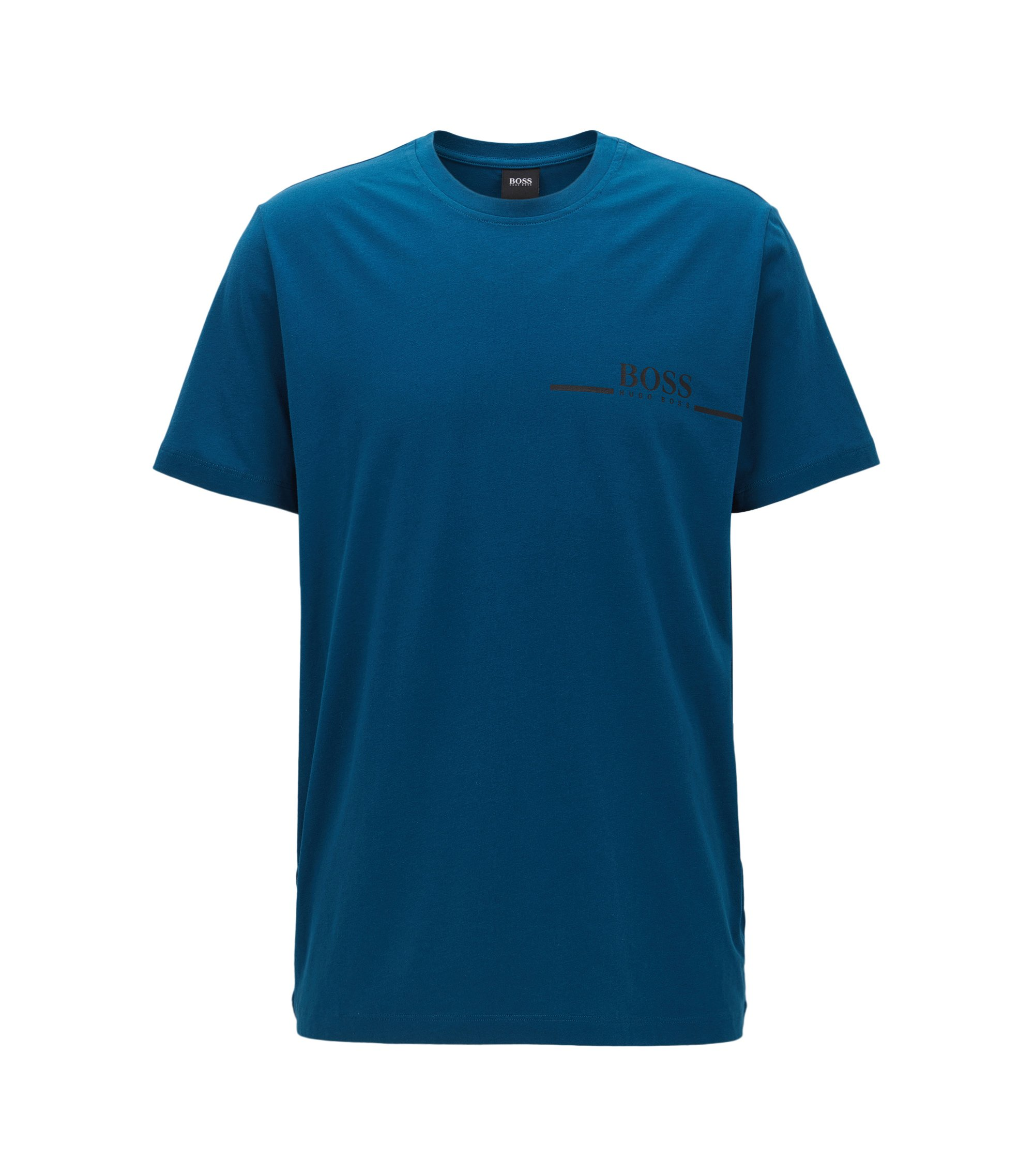 Relaxed-fit T-shirt in cotton jersey with logo print, Blue