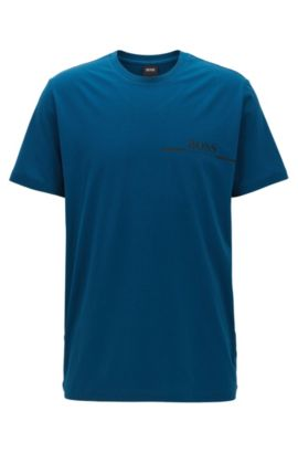 T-shirt relaxed fit in jersey di cotone con stampa del logo, Blu