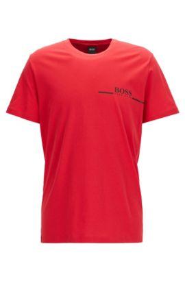 Camiseta relaxed fit en punto de algodón con logo estampado, Rojo