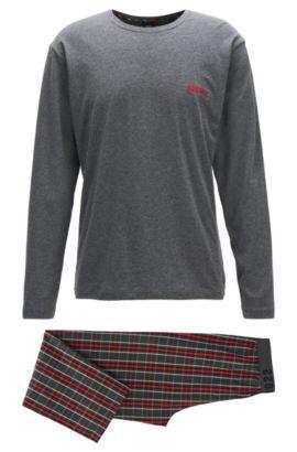 Pyjamaset van zuivere katoen, Grijs