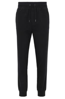 Slim-Fit Hose aus merzerisierter Baumwolle mit Bündchen, Schwarz