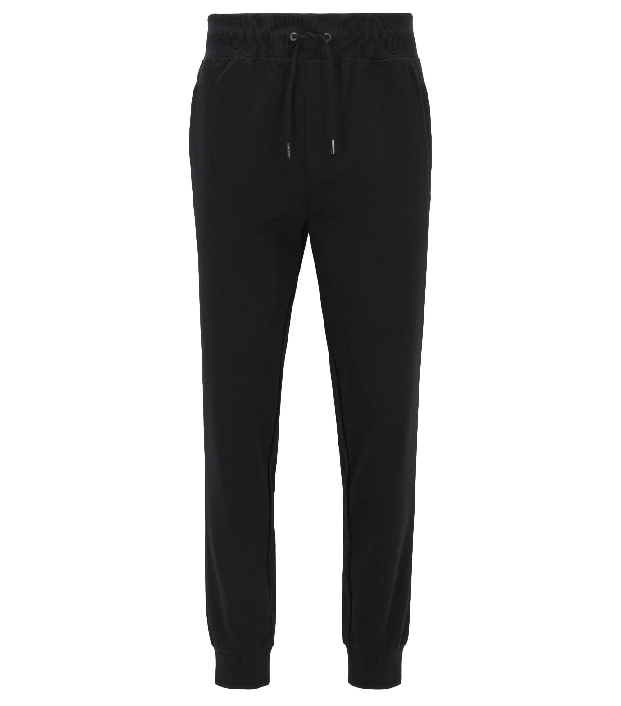 Slim-fit cuffed trousers in mercerised cotton, Black