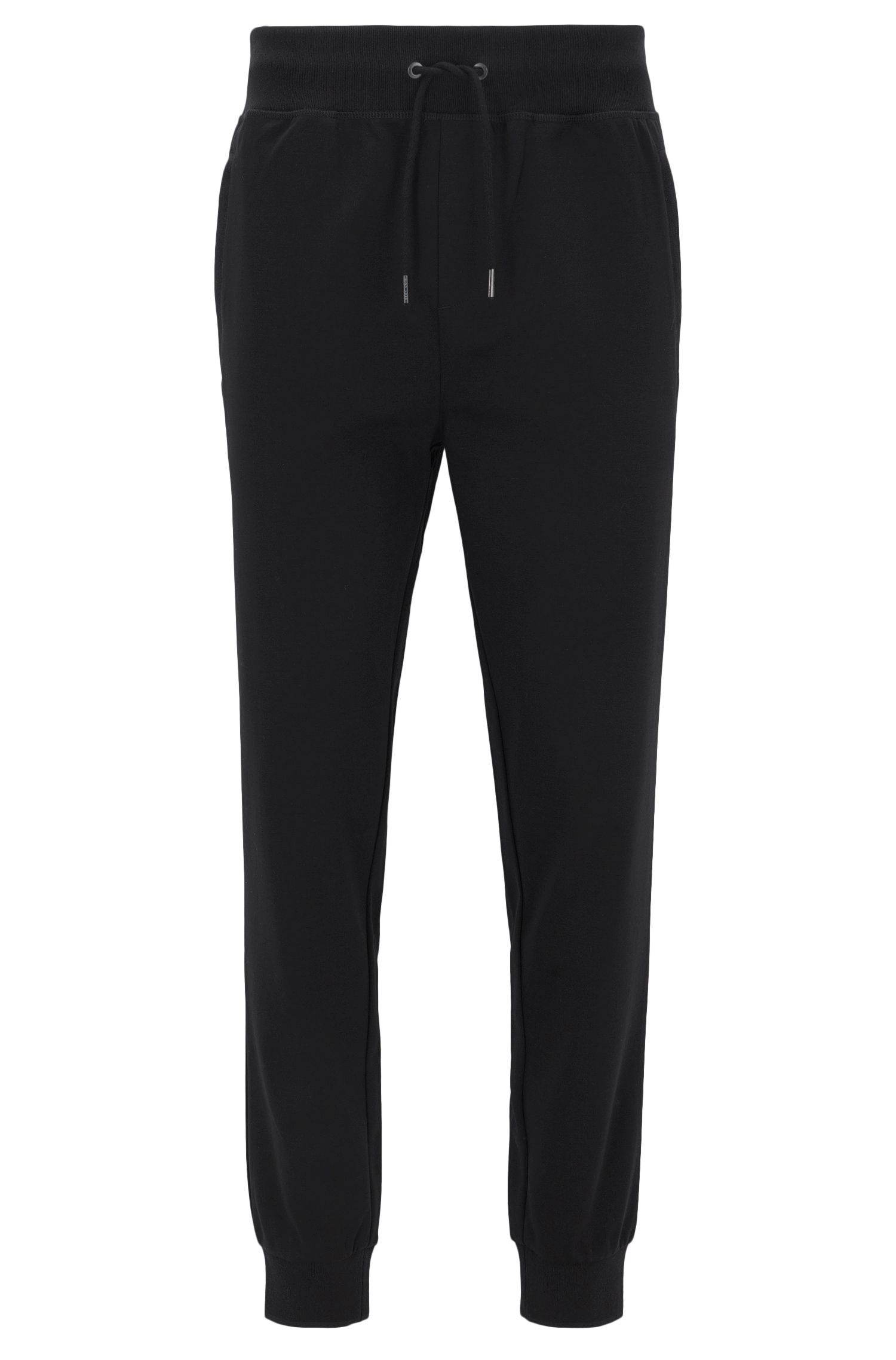 Slim-fit cuffed trousers in mercerised cotton