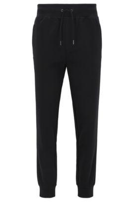 Slim-fit broek van gemerceriseerde stretchkatoen met boorden aan de pijpen, Zwart