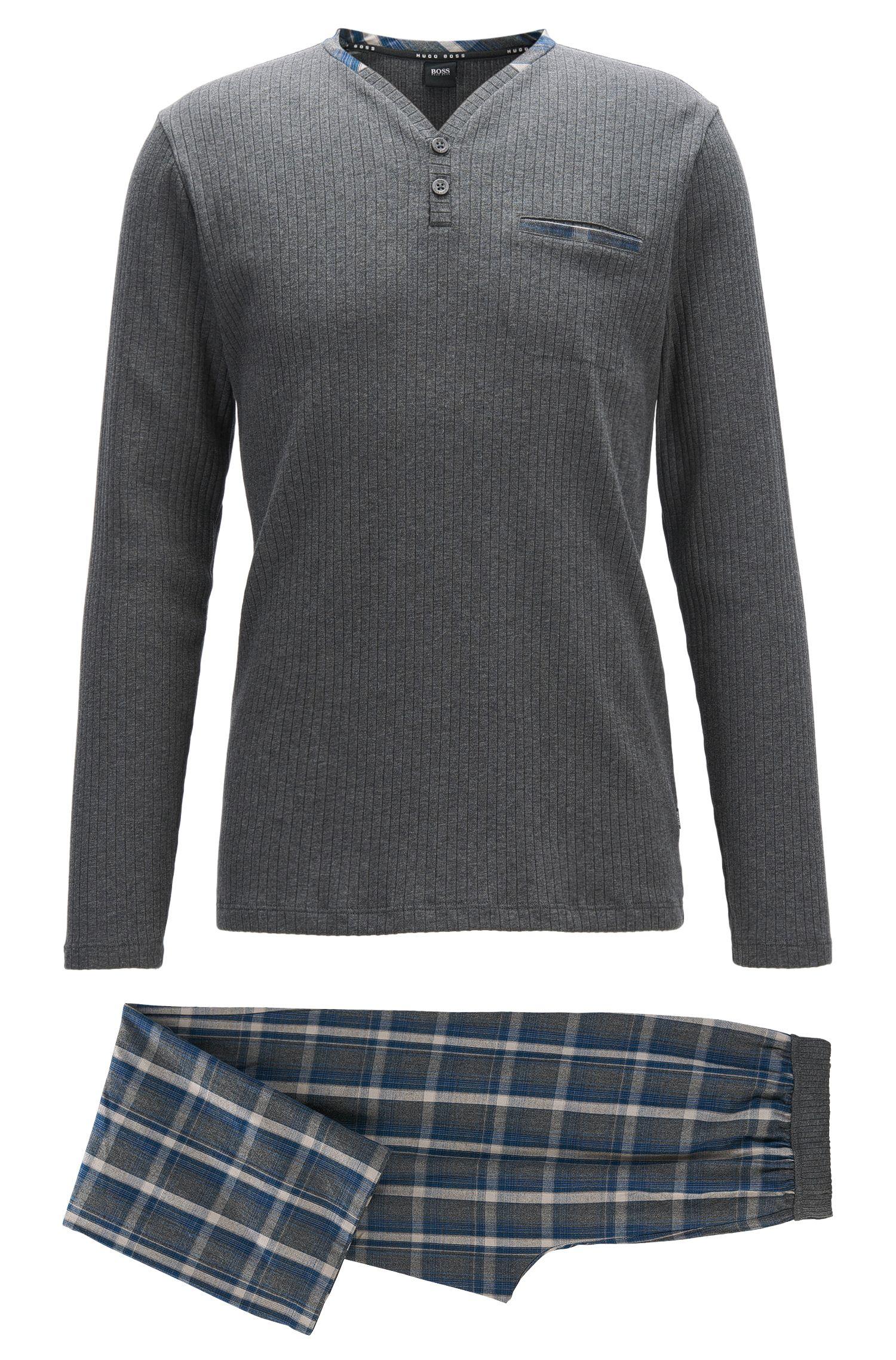 Regular-fit pyjamaset van geborstelde katoen