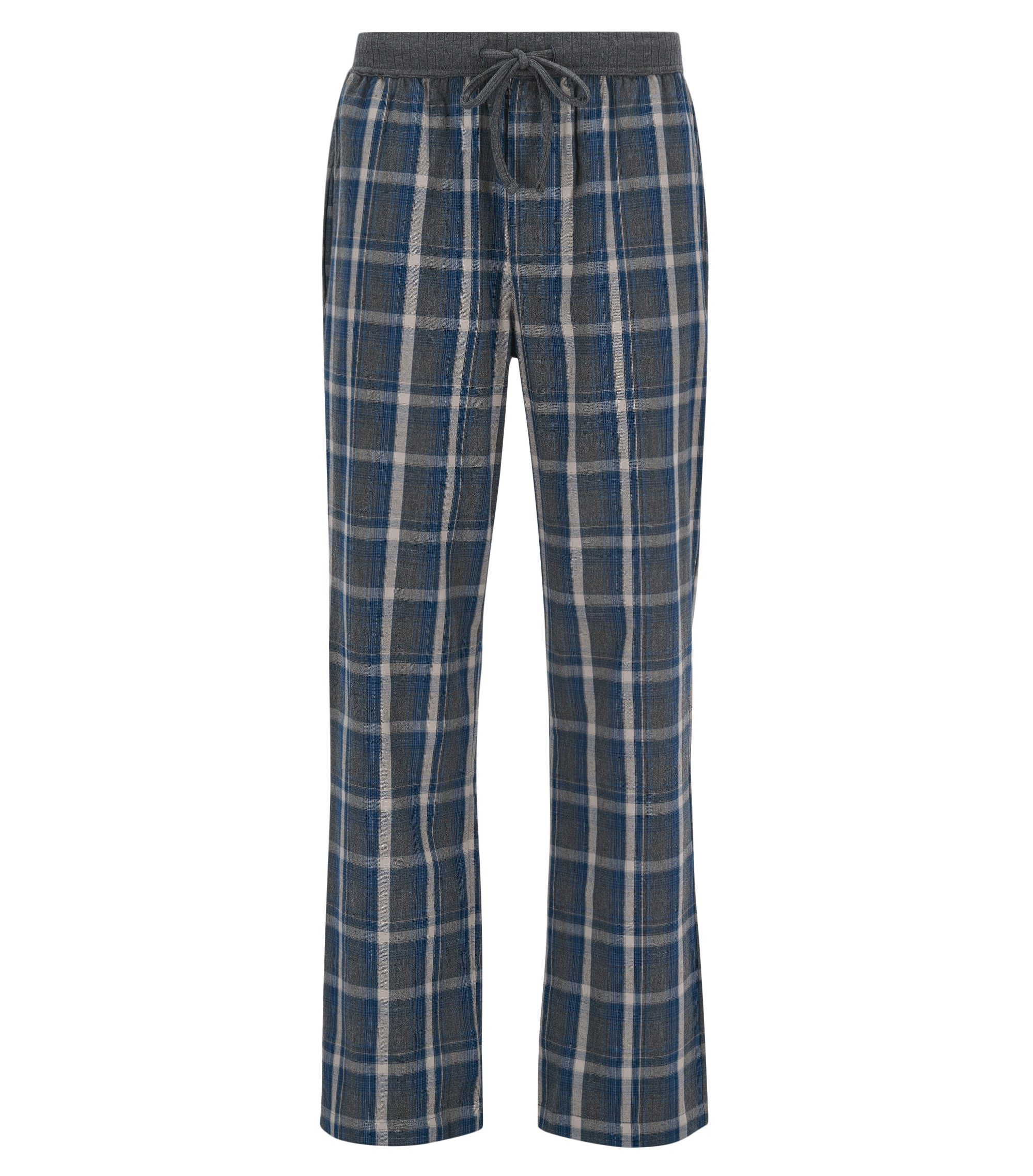 Pyjama trousers in checked cotton , Anthracite