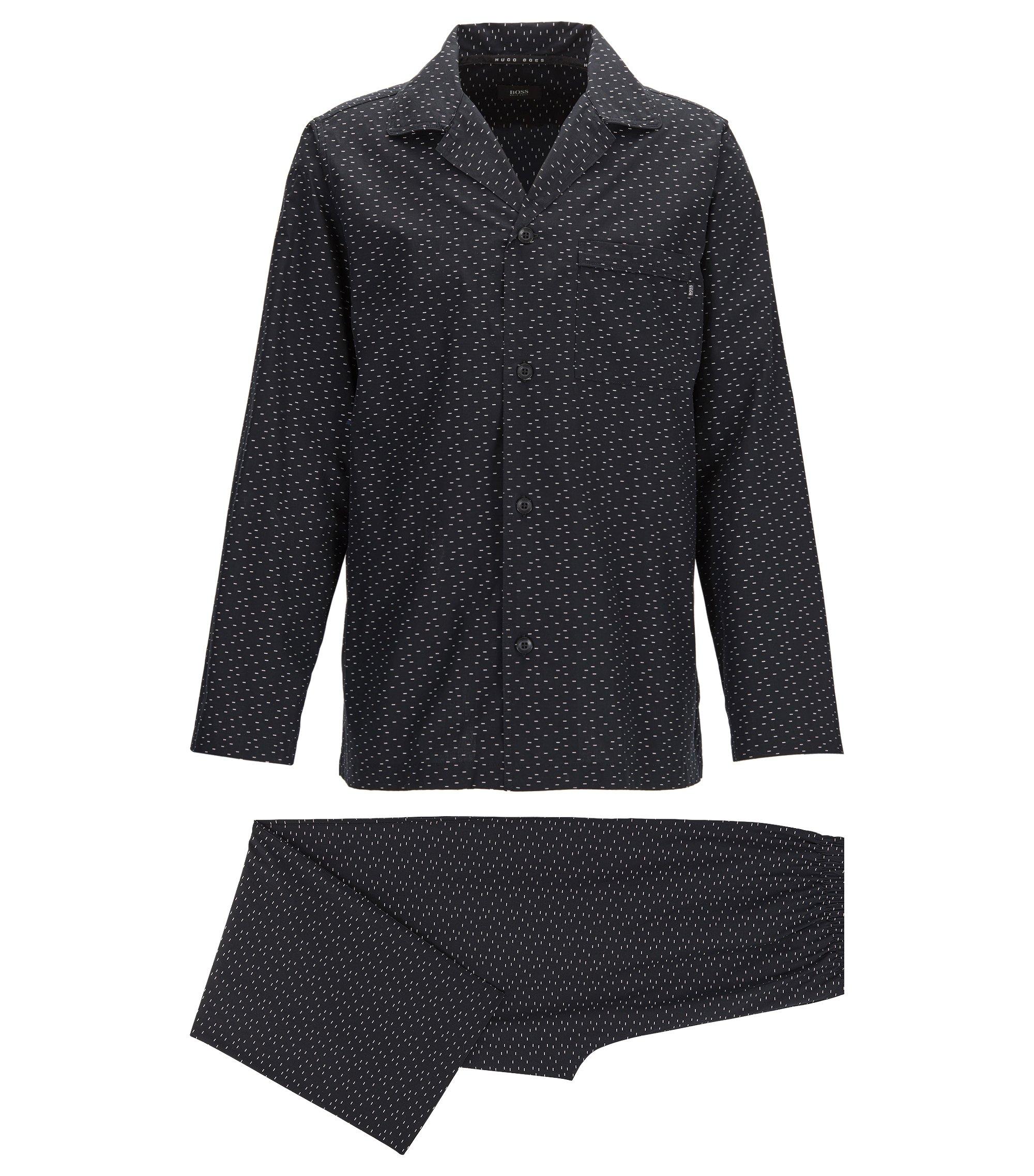 Pyjama aus Baumwolle mit Fil-coupé-Struktur, Schwarz