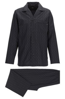Pyjama set in fil coupé cotton, Black