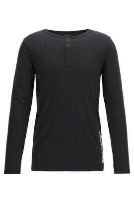 T-shirt sous-vêtement à manches longues en jersey simple, Noir