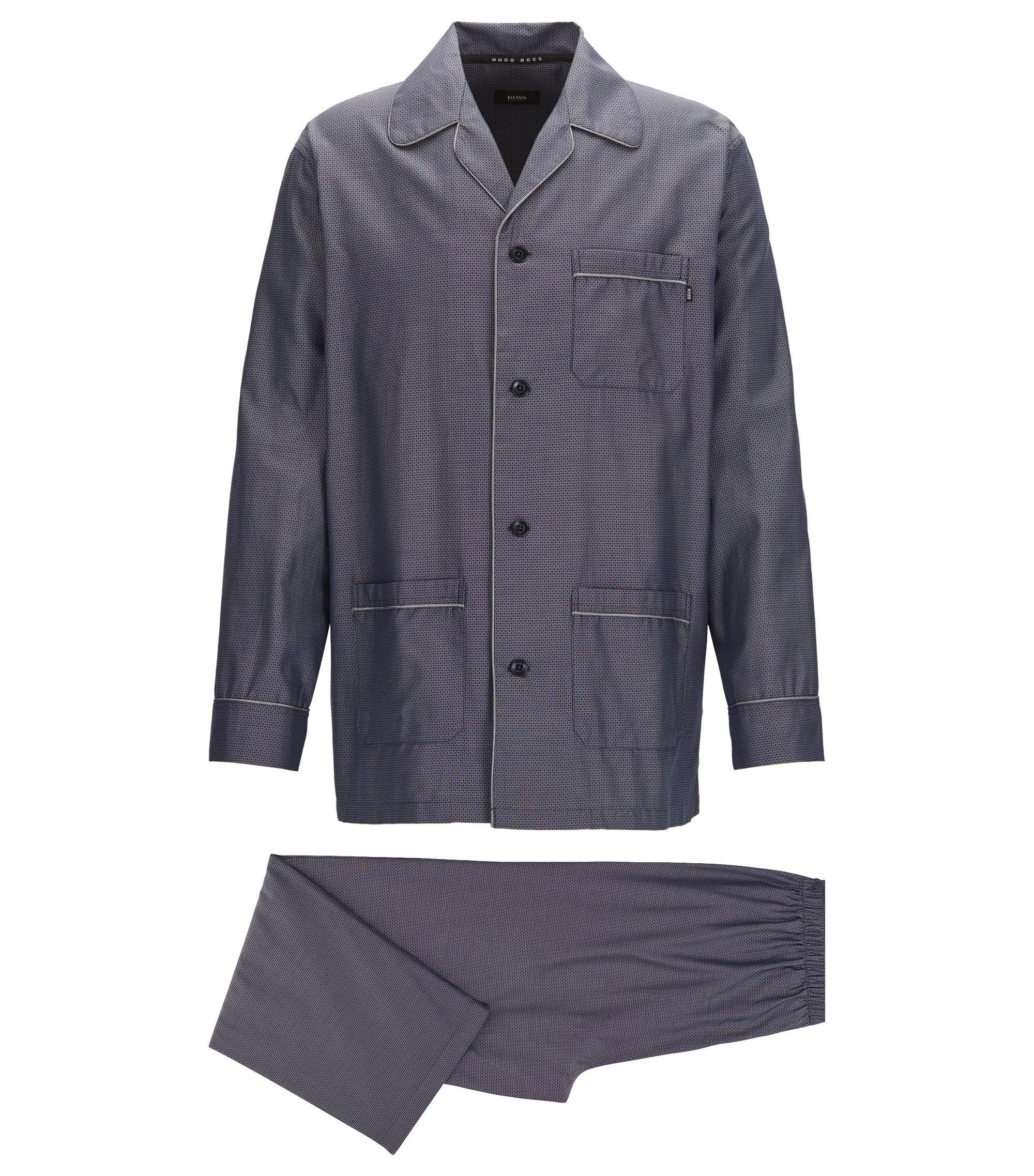 Pyjamaset in een jacquard van lichte katoen, Donkerblauw