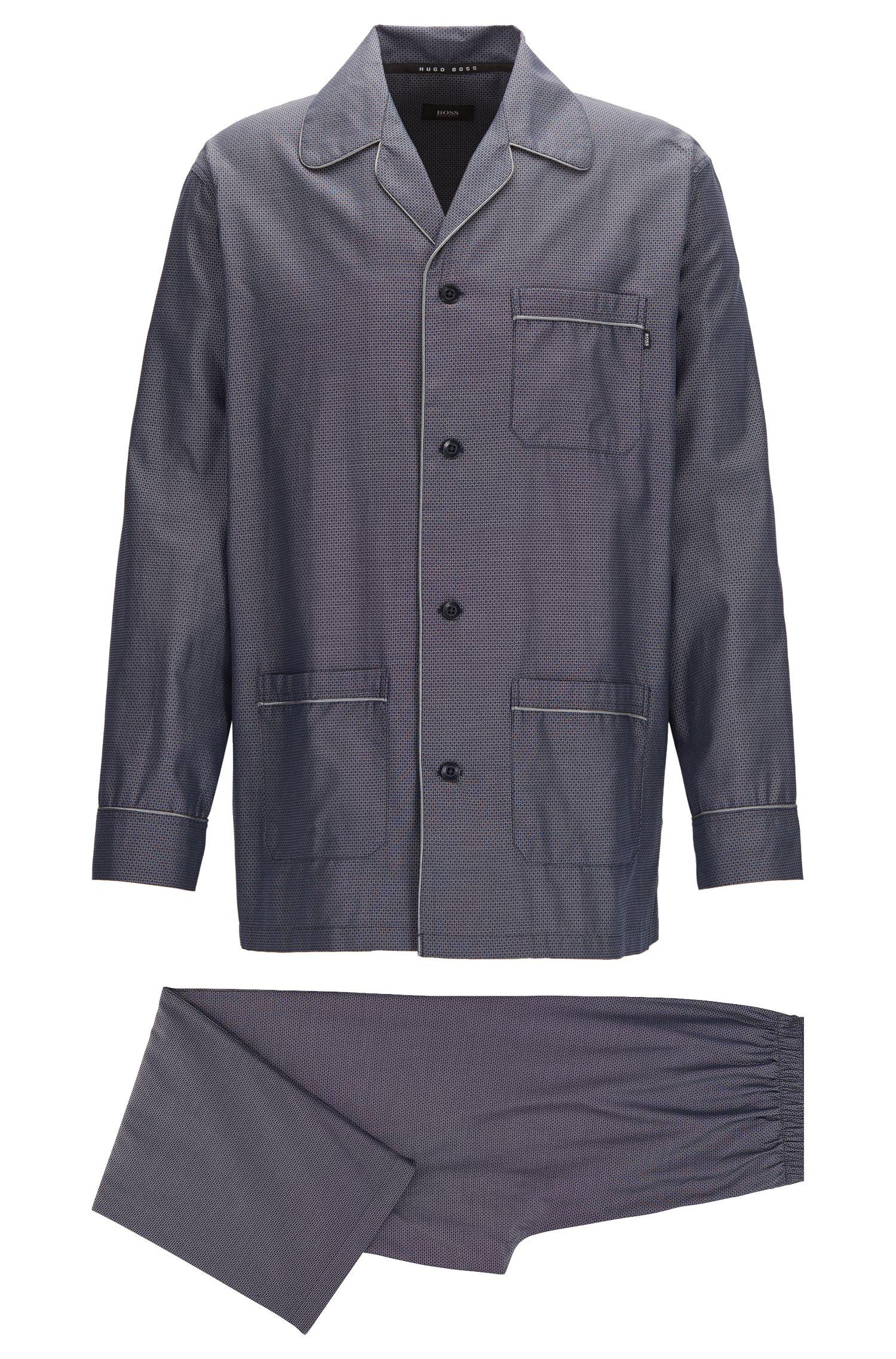 Pyjama set in lightweight cotton jacquard