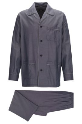 Pyjama en jacquard de coton léger, Bleu foncé