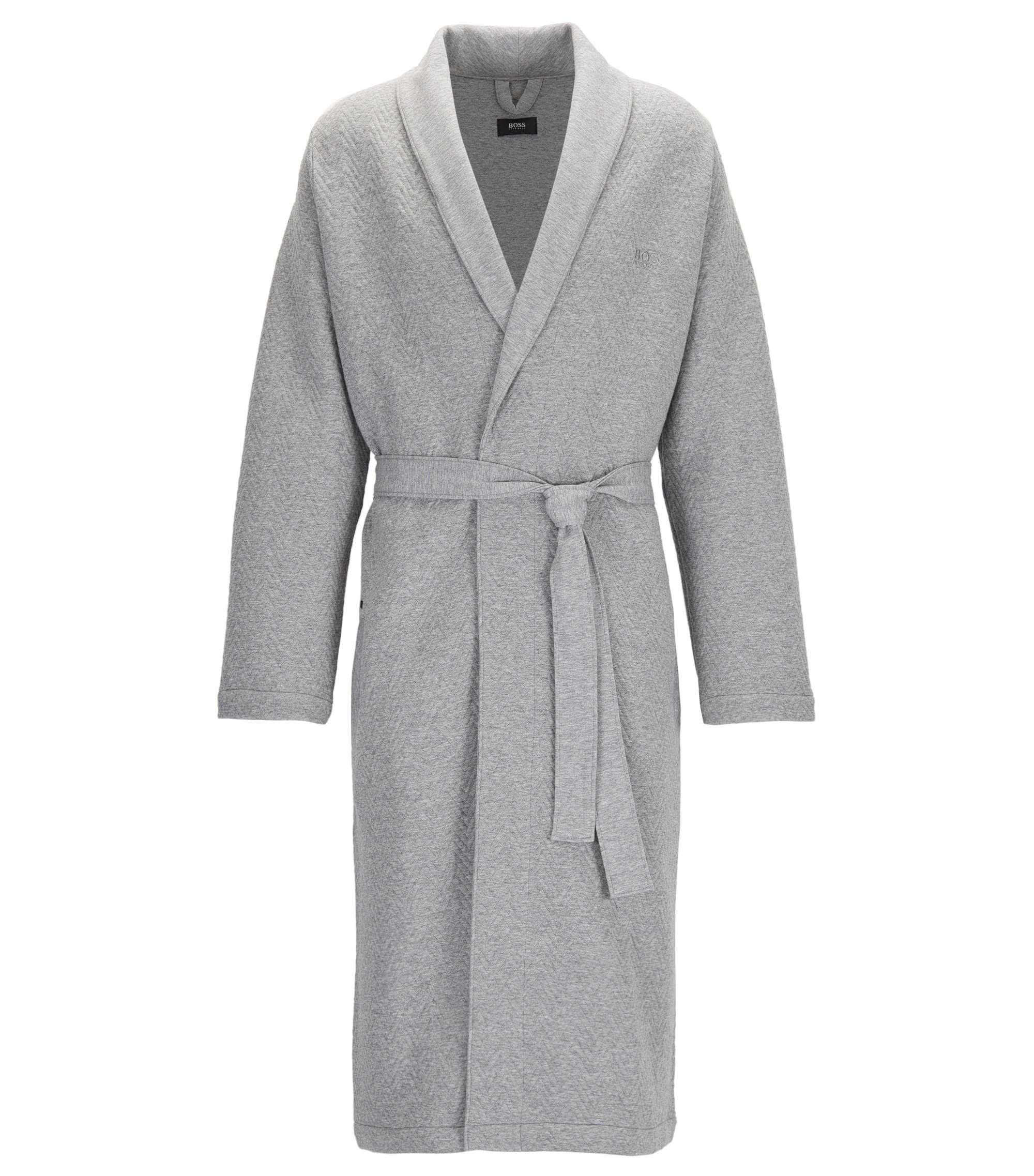 Cotton dressing gown with herringbone structure, Grey