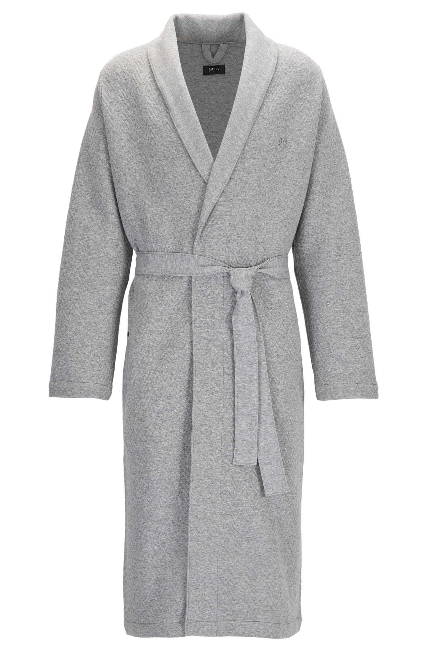 Cotton dressing gown with herringbone structure