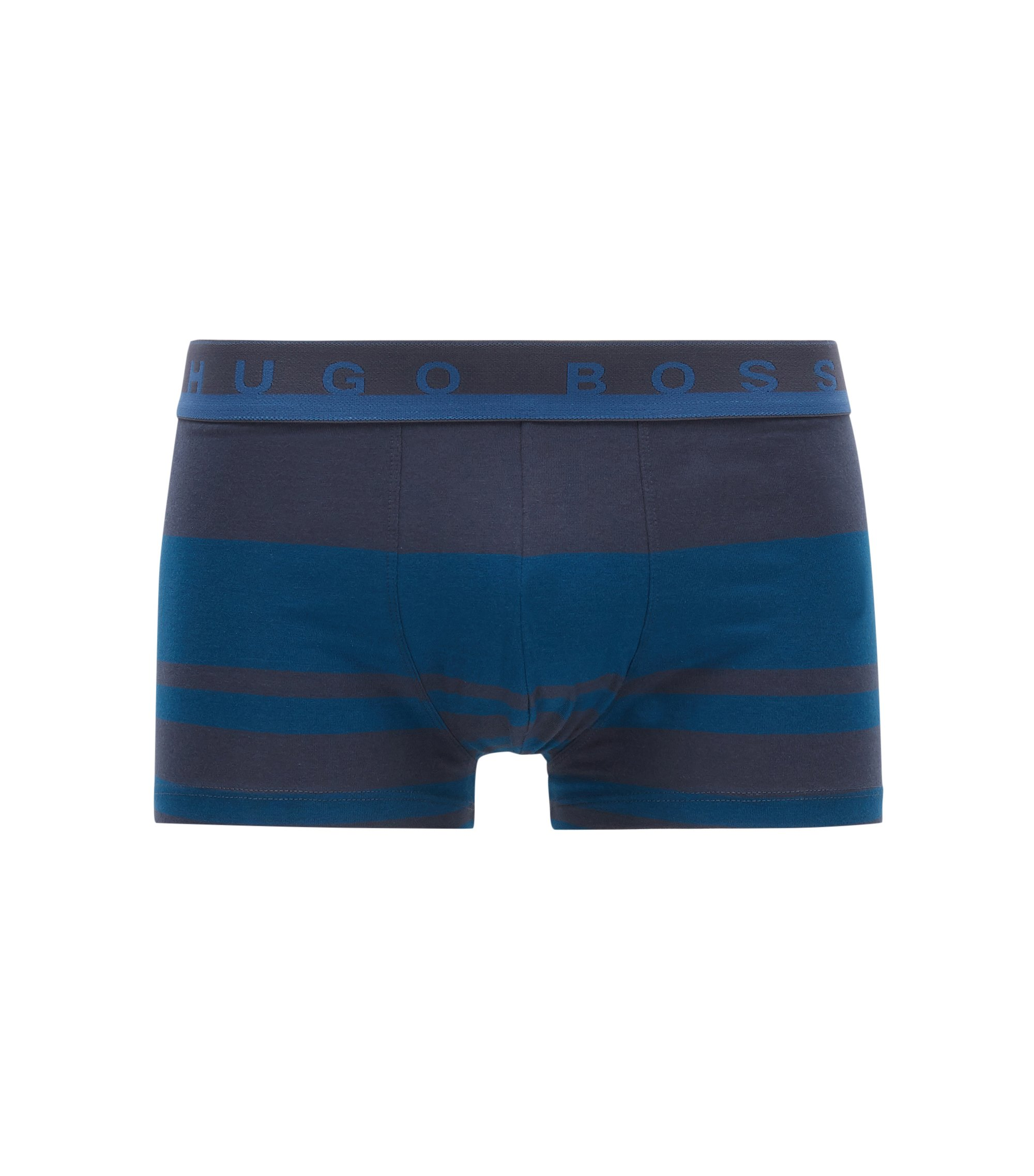 Striped boxer briefs in stretch cotton jersey, Blue