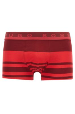 Gestreifte Boxershorts aus elastischem Baumwoll-Jersey, Hellrot
