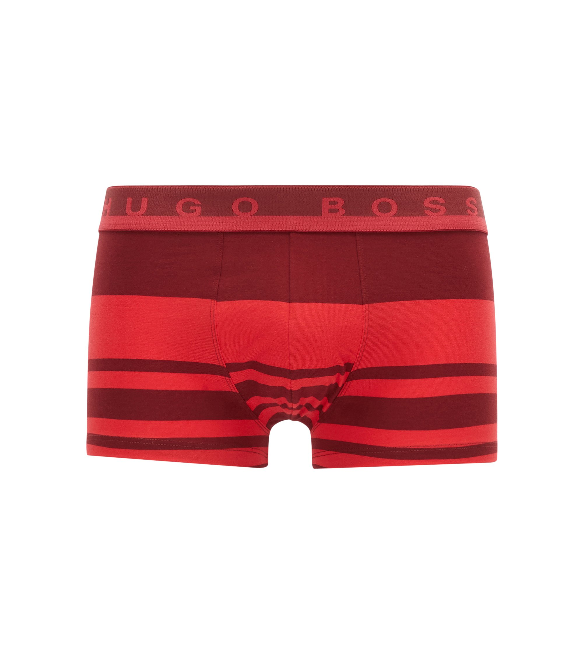 Striped boxer briefs in stretch cotton jersey, Red