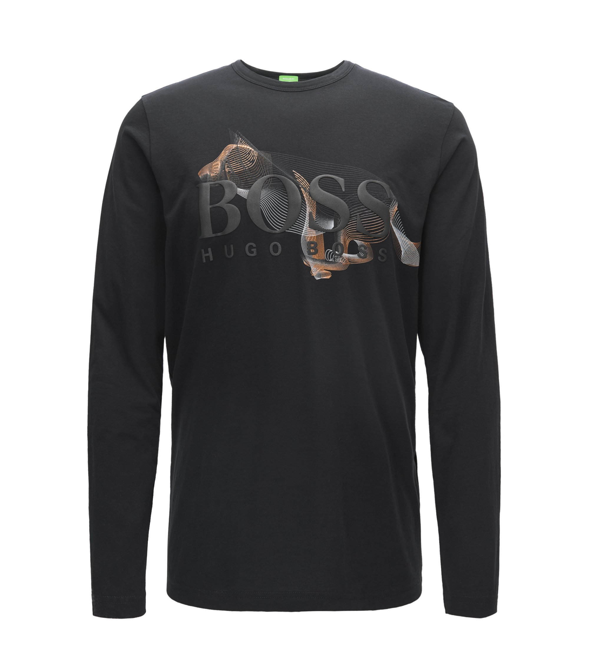 Regular-fit long-sleeved T-shirt with artwork, Black