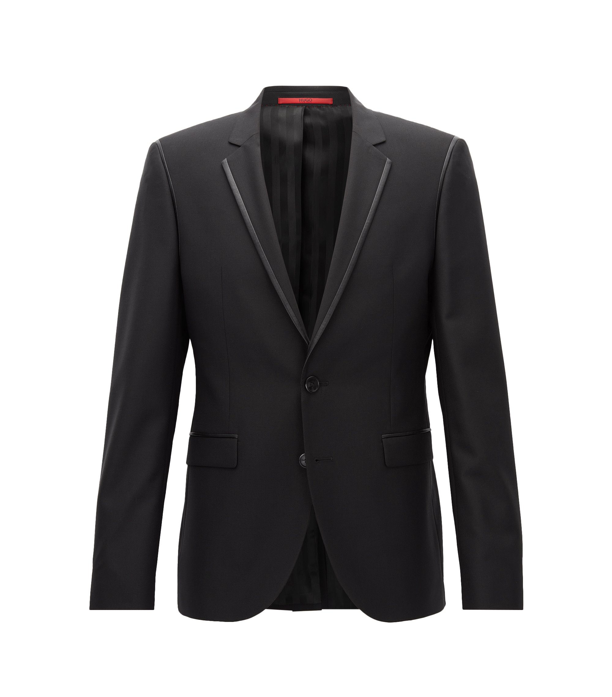Extra-slim-fit jacket in a wool blend, Black