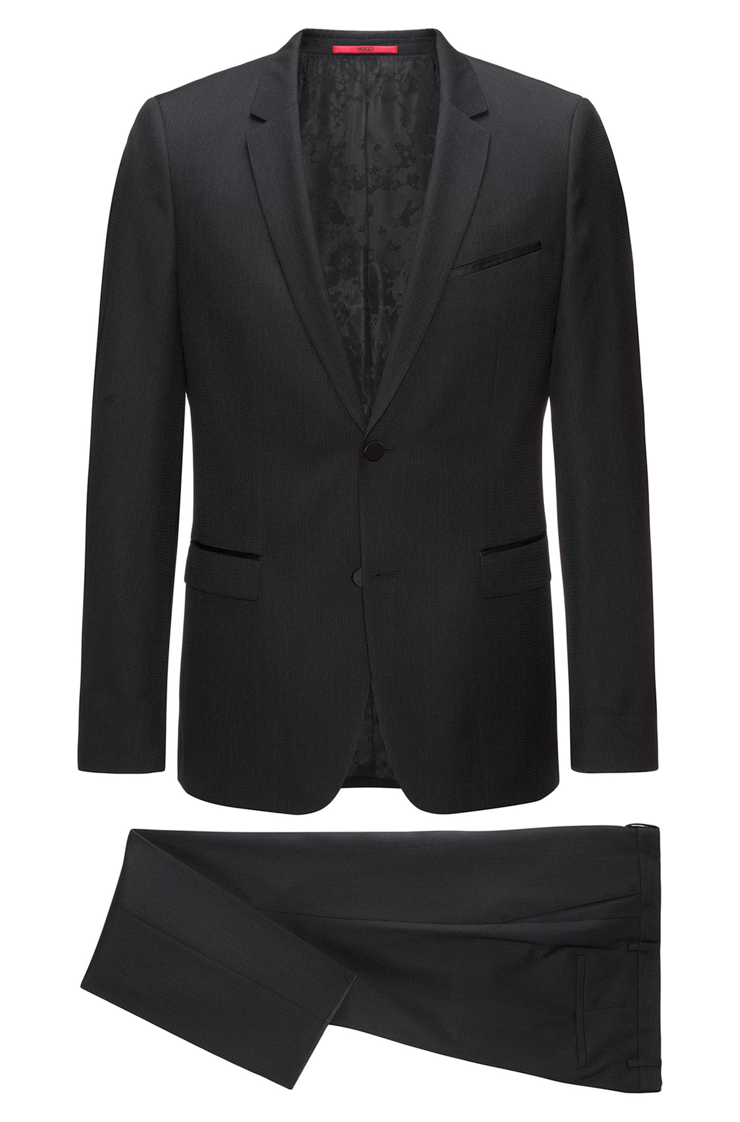 Extra-slim-fit three-piece suit in patterned virgin wool with silk trims