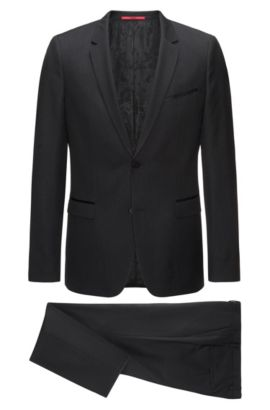Extra-slim-fit three-piece suit in patterned virgin wool with silk trims, Black